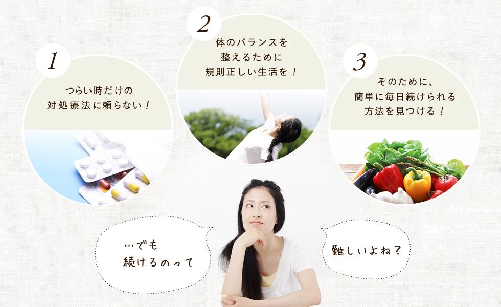 1.薬や痛み止めをできるだけ飲まないように,2.我慢してストレスをため込まないように,3.規則正しいバランスの良い食生活に